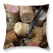 Pile Of Wine Corks With Corkscrew Throw Pillow by Garry Gay