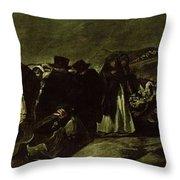 Pilgrimage To San Isidros Fountain, C.18213 Oil On Canvas Throw Pillow