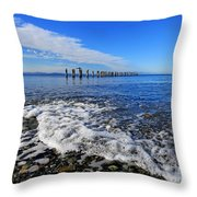 Pilings In The Ocean Throw Pillow