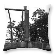 Pillars Of An Under Construction Building Covered By Sacks Throw Pillow
