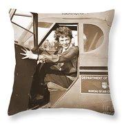 Pilot Amelia Earhart 1936 Throw Pillow