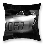 Pilot And His Airplane In The Hangar Throw Pillow