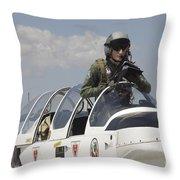 Pilot Standing In  A Socata Tb-30 Throw Pillow