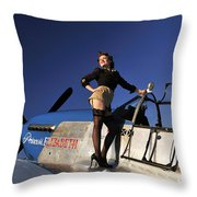 Pin-up Girl Standing On The Wing Throw Pillow by Christian Kieffer