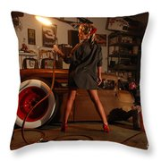 Pin Up Girl With Blow Torch Throw Pillow