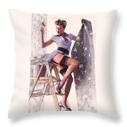 Pin-up Maid Throw Pillow