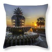 Pinapple Fountain Charleston Sc Sunrise Throw Pillow