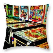Pinball Alley Throw Pillow by Benjamin Yeager