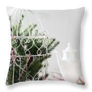 Pine Branches Birdcage Throw Pillow