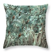 Pine Cones And Lace Lichen Throw Pillow