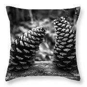 Pine Cones Talking  Throw Pillow