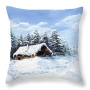 Pine Forest In Winter Throw Pillow