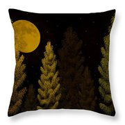 Pine Forest Moon Throw Pillow