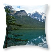 Pine Over Emerald Lake Reflection In Yoho National Park-british Columbia-canada Throw Pillow
