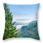 Pine Tree And Columbia River Gorge Throw Pillow