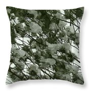 Pine Tree Branches Covered With Snow Throw Pillow
