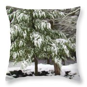 Pine Tree Covered With Snow 2 Throw Pillow