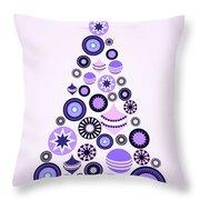 Pine Tree Ornaments - Purple Throw Pillow
