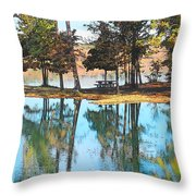 Pine Tree Water Reflections Throw Pillow