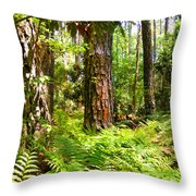 Pine Trees And Ferns Throw Pillow