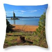 Pine Trees In Lake Almanor Throw Pillow
