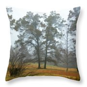 Pine Trees In Mist - Digital Paint 1 Throw Pillow