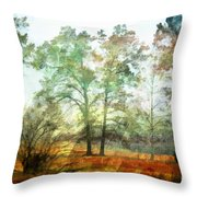Pine Trees In Mist 2 - Digital Paint Throw Pillow