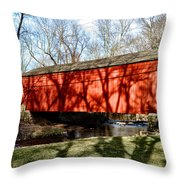 Pine Valley Covered Bridge In Bucks County Pa Throw Pillow