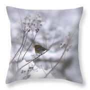 Pine Warbler In The Snow - Better Than Red Throw Pillow