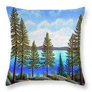 Pine Woods Lake Tahoe Throw Pillow