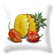 Pineapple And Habanero Peppers  Throw Pillow