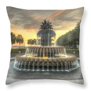 Pineapple Fountain Sunset Throw Pillow