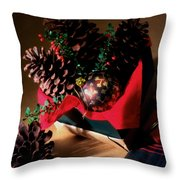 Pinecones Christmasbox Painted Throw Pillow