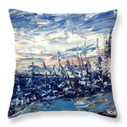 Pines In Winter Blues Abstract Throw Pillow