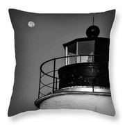 Piney Point Lighthouse And Moon In Black And White Throw Pillow