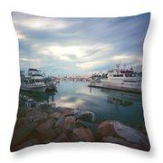 Pinhole Oceanside Harbor Throw Pillow