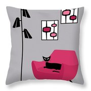 Pink 4 On Gray Throw Pillow