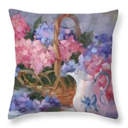 Pink And Blue Hydrangeas Throw Pillow