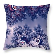 Pink And Blue Morning Frost Fractal Throw Pillow