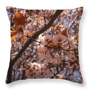 Pink And Leaves Throw Pillow