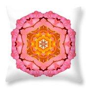 Pink And Orange Rose I Flower Mandala White Throw Pillow