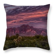 Pink And Purple Desert Skies  Throw Pillow