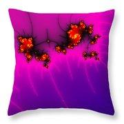 Pink And Purple Digital Fractal Artwork Throw Pillow