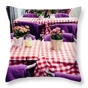 Pink And Purple Dining Throw Pillow