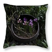 Pink And Purple Flowers In A Slanting Container Throw Pillow
