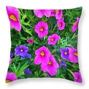 Pink And Purple Petunias Throw Pillow