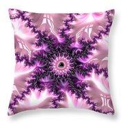 Pink And Purple Soft And Creamy Fractal Art Throw Pillow