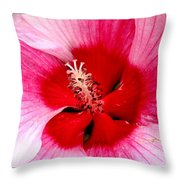 Pink And Red Hibiscus Flower Throw Pillow