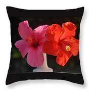 Pink And Red Hibiscus Throw Pillow