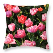 Pink And Red Ruffly Tulips Square Throw Pillow